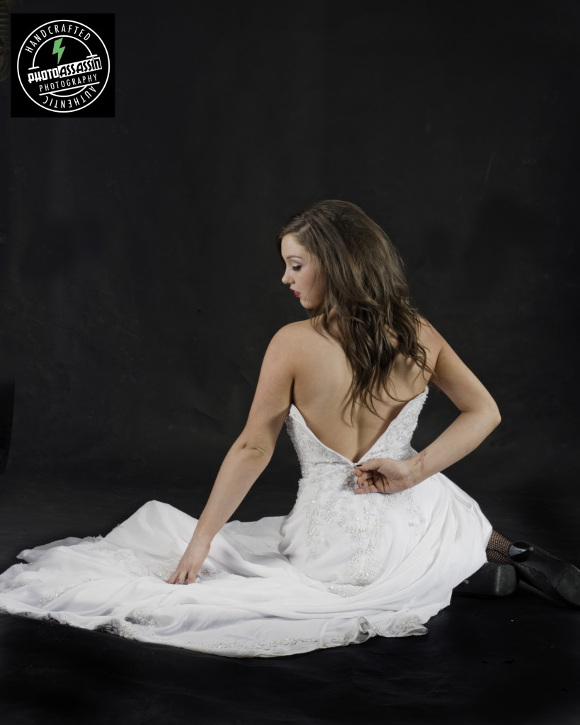 wedding dress back sitting